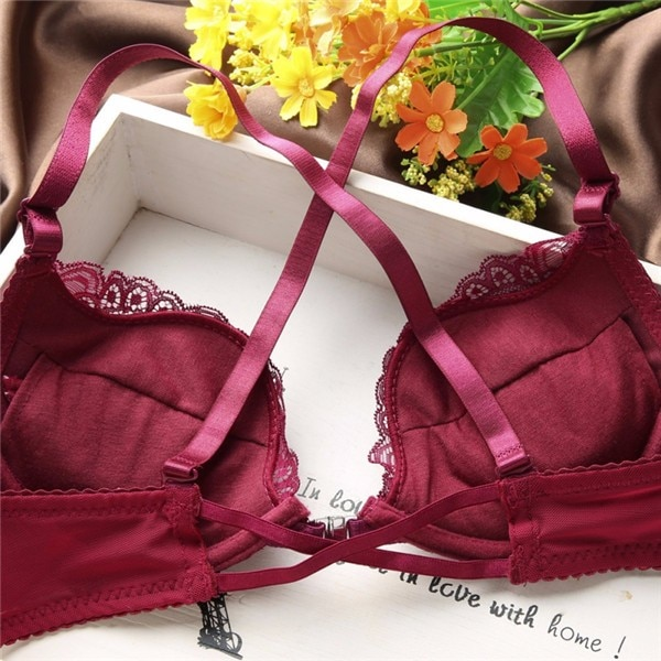 Hot Woman Lingerie Sexy Front Buckle Bra Front Closure U Shape Push Up 2PCS Lace Bra Set Pant