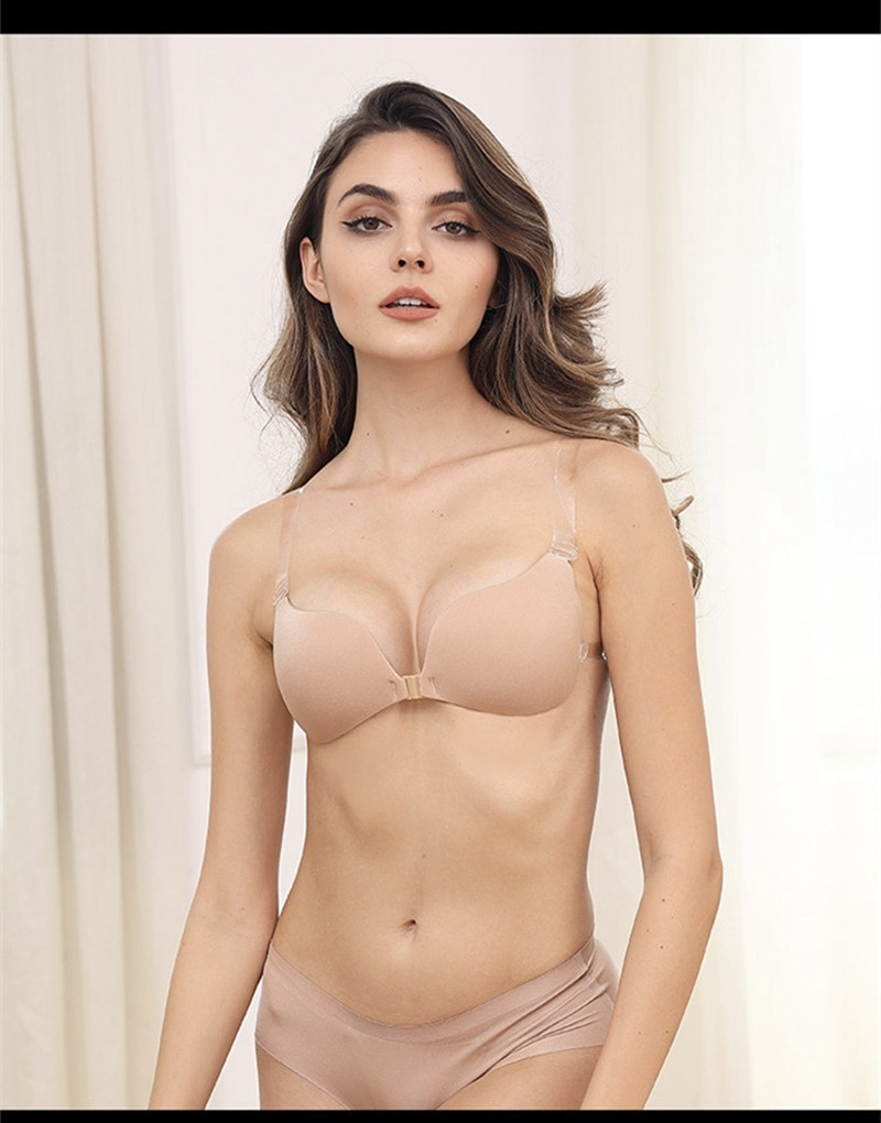 Invisible Bra Push Up Silicone Bra for Wedding Dress Magic Bra with Transparent Straps Backless Bralette Lingerie Top Plus Size